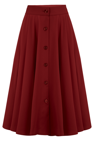 Beverley Front Button Skirt in Wine
