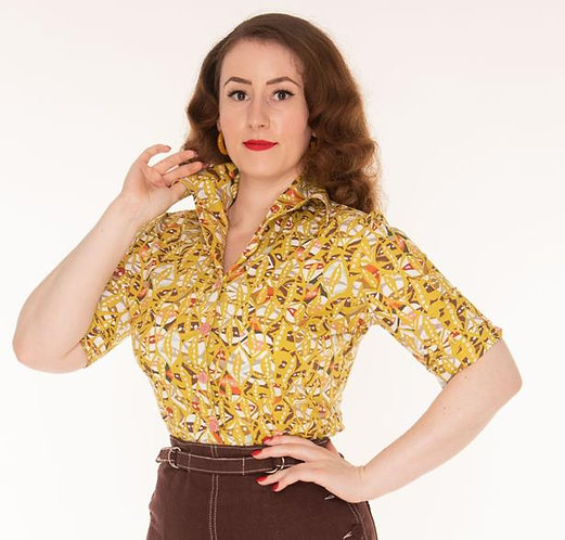 Freddies of Pinewood 50's Abstract Blouse