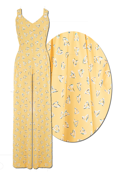 Yellow abstract heart jumpsuit