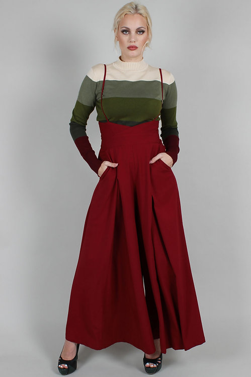High Waisted Suspender Trousers in Wine