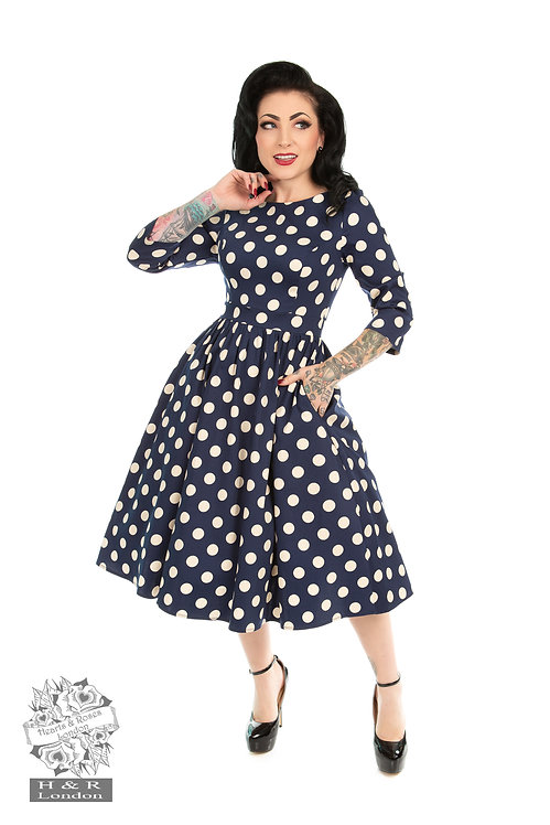 H&R Navy Large Polka Dot Dress