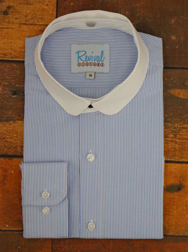 40's Blue & White Shirt - Detachable club collar
