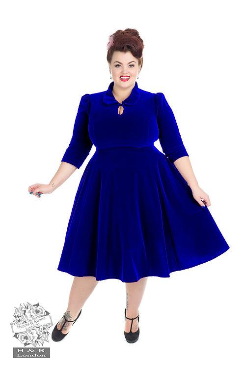 Royal Blue Velvet Swing Dress