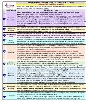CLASS COVID GUIDELINES UPDATED November