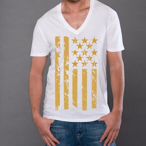 OMA Stars & Stripes Gold Foil V-Neck