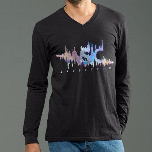 OMTVN Music Evolution Rainbow Foil Vinyl - Long Sleeve V-Neck
