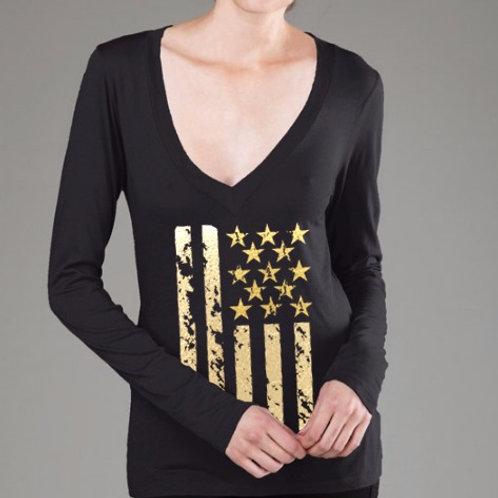 OMA Stars & Stripes Gold Foil - Long Sleeve