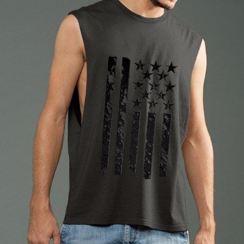 OMA Stars & Stripes Black Vinyl - Deep Side Cut Muscle Tank