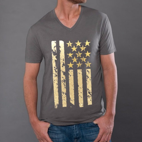 OMA Stars & Stripes Gold Foil - V - Neck