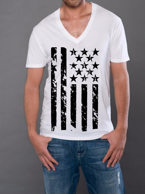 OMA Stars & Stripes Black Vinyl V-Neck