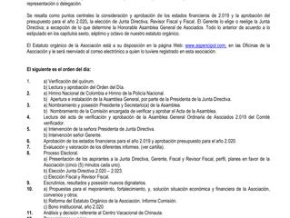 CONVOCATORIA ASAMBLEA GENERAL ORDINARIA DE ASOCIADOS 2020