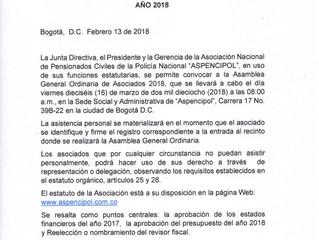 CONVOCATORIA NACIONAL ASAMBLEA GENERAL 2018