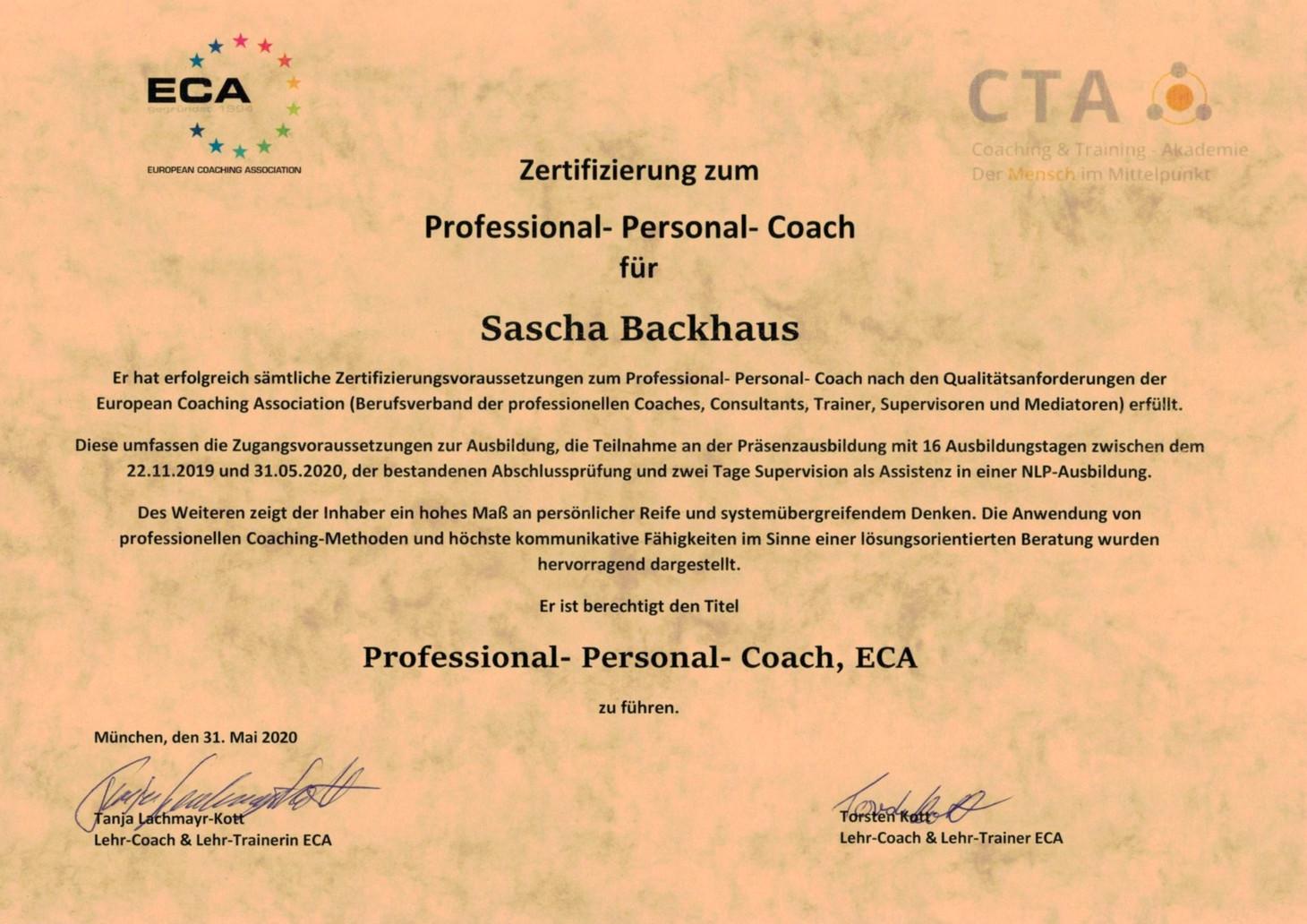 Zertifikat Professional-Personal-Coach