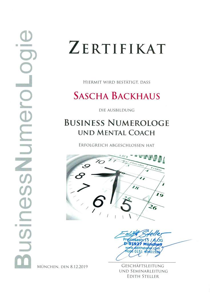 Zertifikat Business-Numerologe