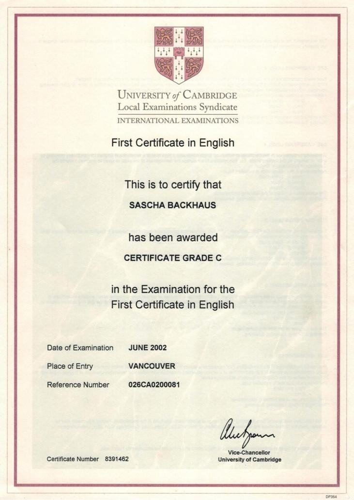 Cambridge Certificate