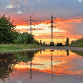 High-power line - power lines and the su