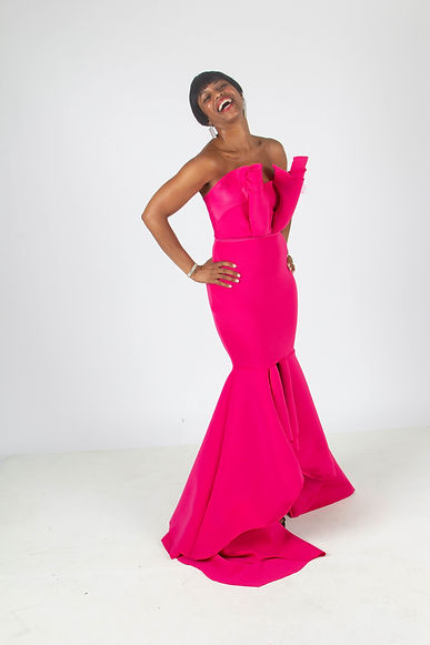 Dionne Hot Pink Gown Laughing Hand on Hi