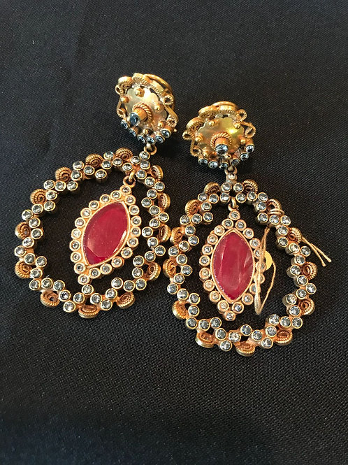 Oval Ruby Hoop Statement Earrings
