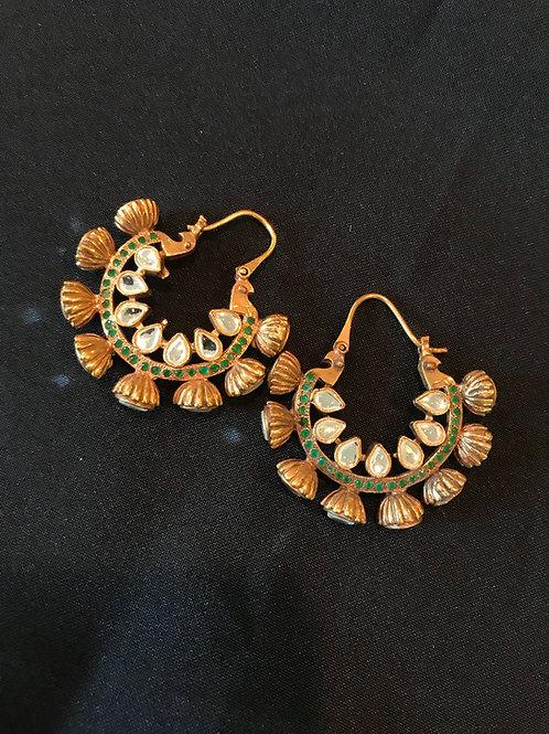 Emerald & CZ Kundan Peakcock Chandbali Earrings