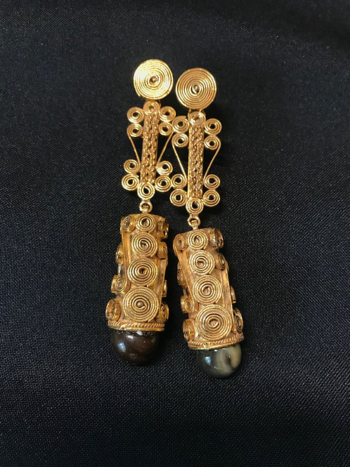Chocolate Egyptian Style Long Earrings