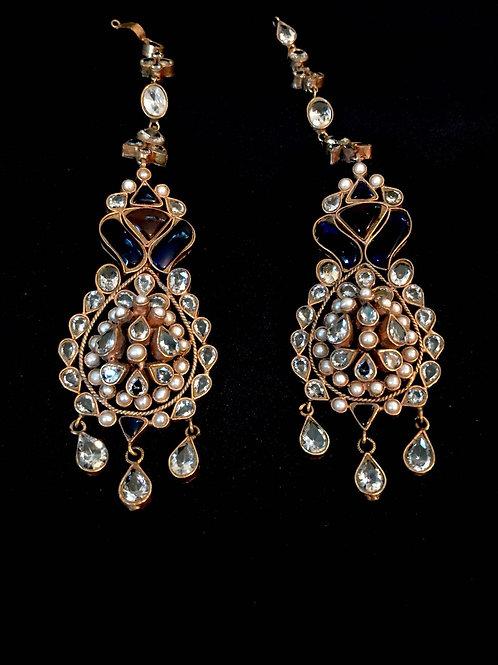 Kundan Droplet Kaan/Ear Chain Earrings