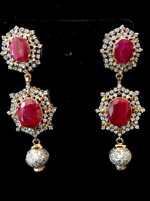 Untreated ruby 22k gold plated earrings