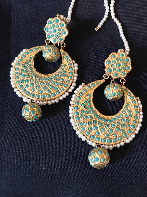 Turquoise & Pearl Chandbali Earrings
