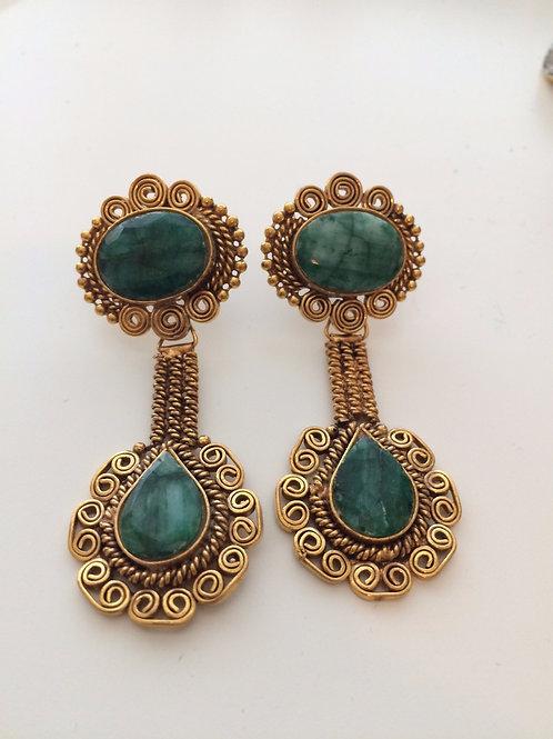 Zinn emerald earrings