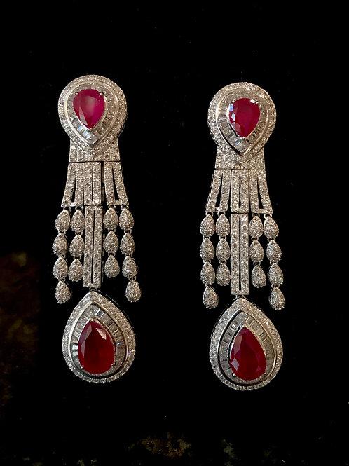 Two tear drop ruby CZ Earrings