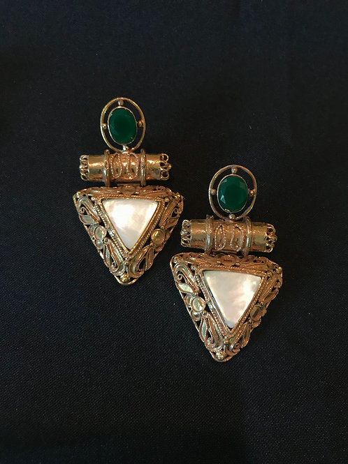 Emerald & Pearl Egyptian Style Triangle Earrings