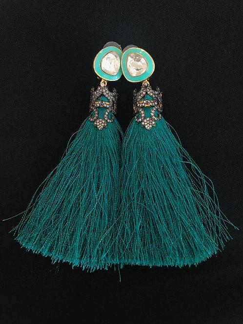 Turquoise Victorian Style Kundan & Silk Thread Earrings