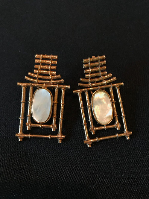 Mother of Pearl Hut Earrings