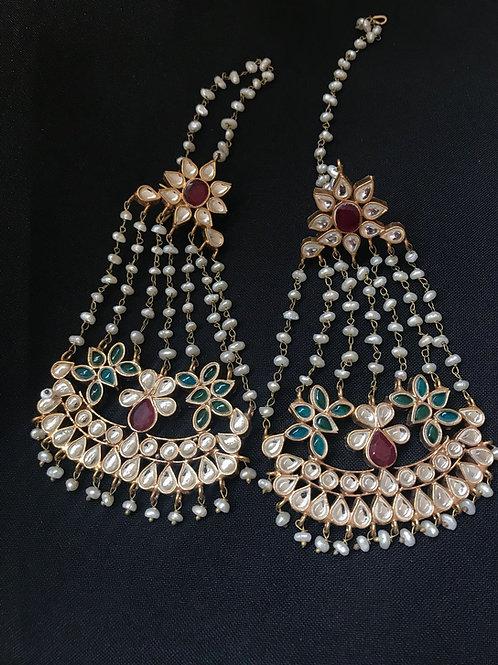 Ruby, Emerald, & Pearl Multi Strand Ear/Kaan Chain Earrings