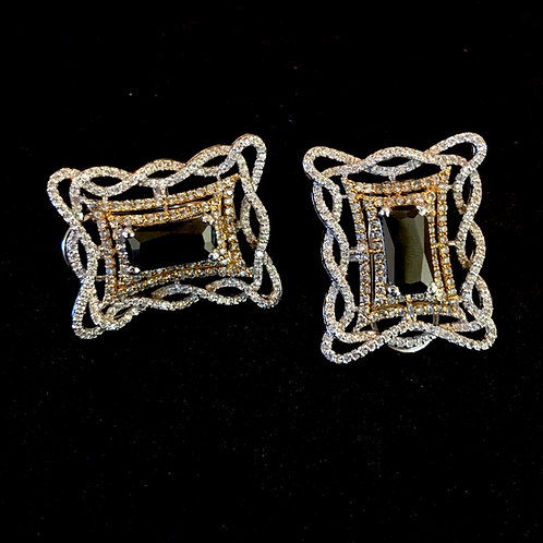 Rectangular Onyx set in sterling silver studs
