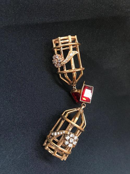 Ruby & Flower Detail Cage Earrings