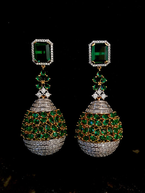 Emerald CZ big tear droplet Earrings