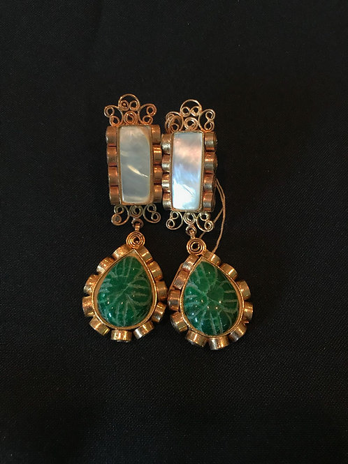 Pearl & Emerald Bar Drop Earrings