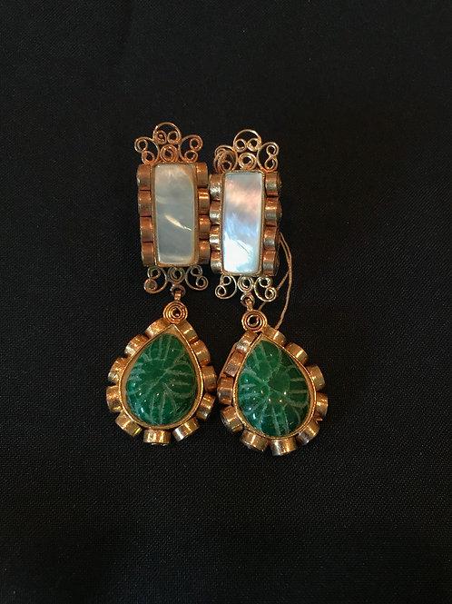 Pearl & Emerald Bar Drop Earrings