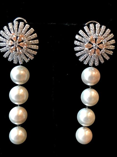 Single big white pearl earrings
