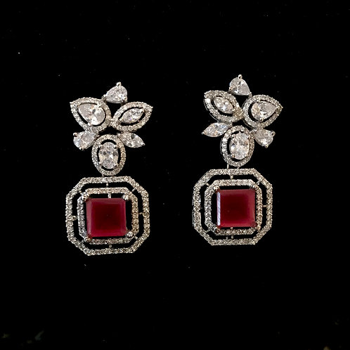 Cube style ruby and fine CZ Earrings