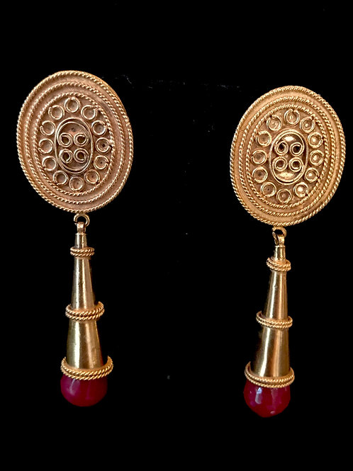 Ruby drop 22k gold plated Egyptian style Earrings