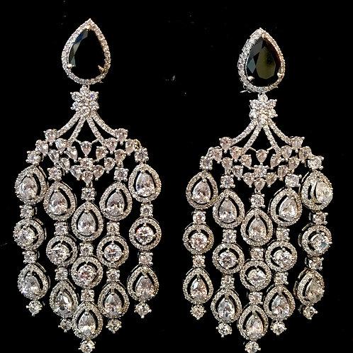 Deep sapphire tear drop top chandelier Earrings