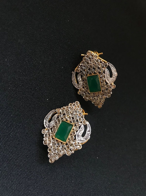 Emerald Shield Stud Earrings