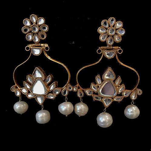 Kundan real pearls lotus flower Earrings