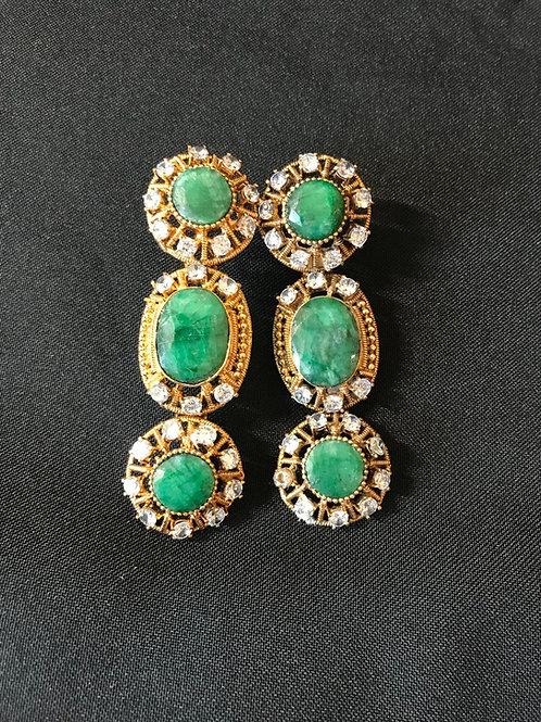 Emerald 3 Tier Circular Earrings