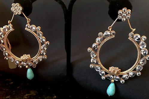 Large Hoop Earrings With Turquoise Drop