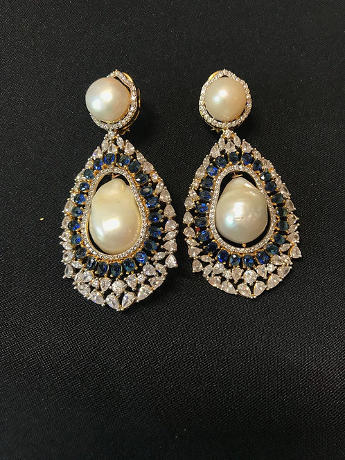 Sapphire Baroque Pearls & Swarovski Crystals Statement Earrings