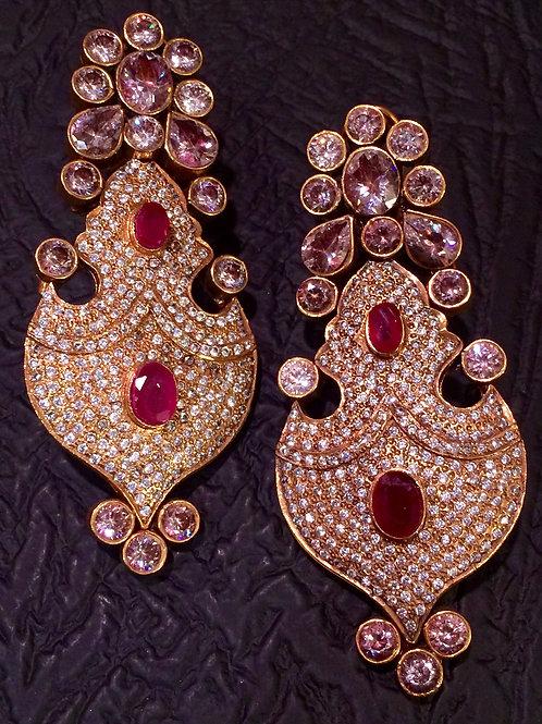 Aani Ruby and CZ earrings