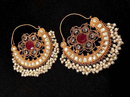 Ruby & Pearl Kundan Chandbali Earrings