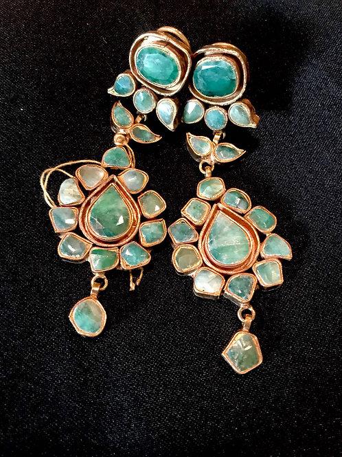 Emerald Teardrop Long Statement Earrings